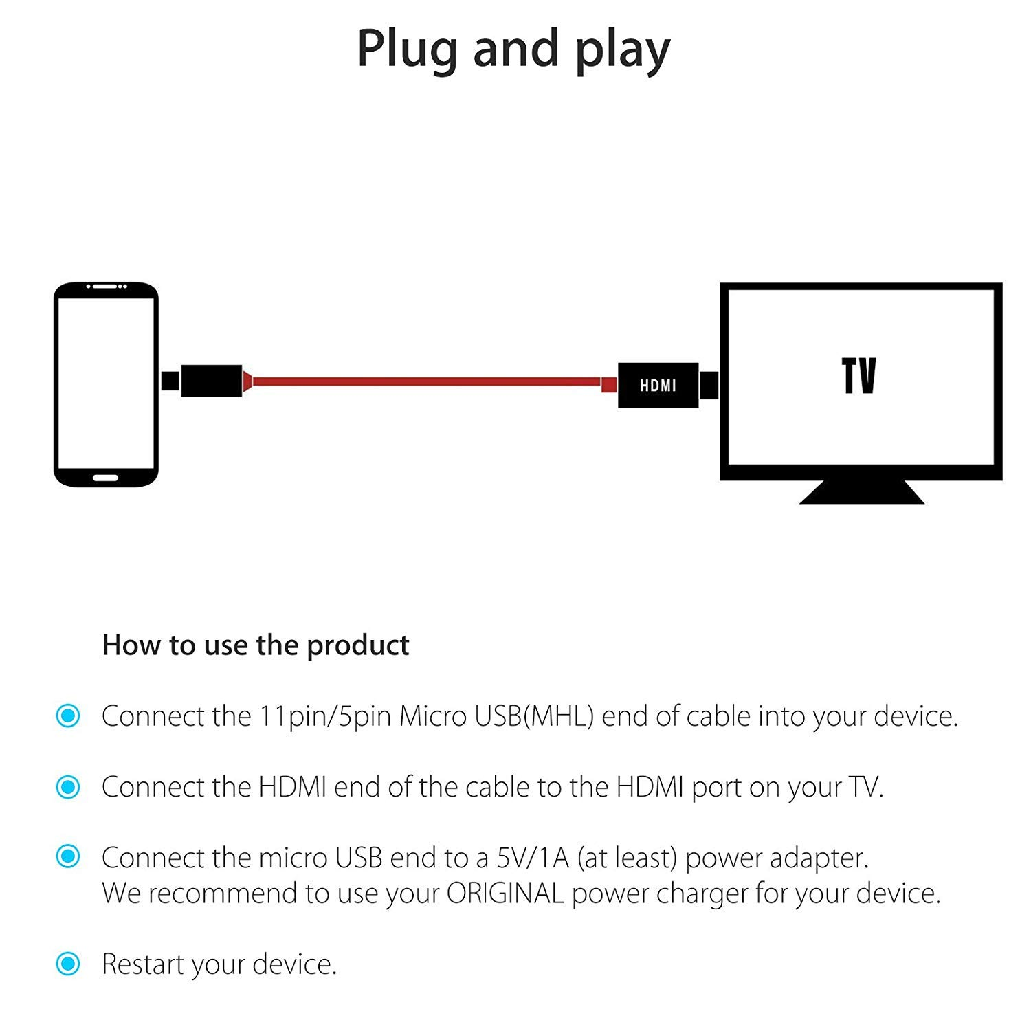 Gm Diagram For Hdmi Cable Not Lossing Wiring Component Amazon Com Eeekit 8 2ft 2 5m Micro Usb Mhl To Hdtv Rh Pin