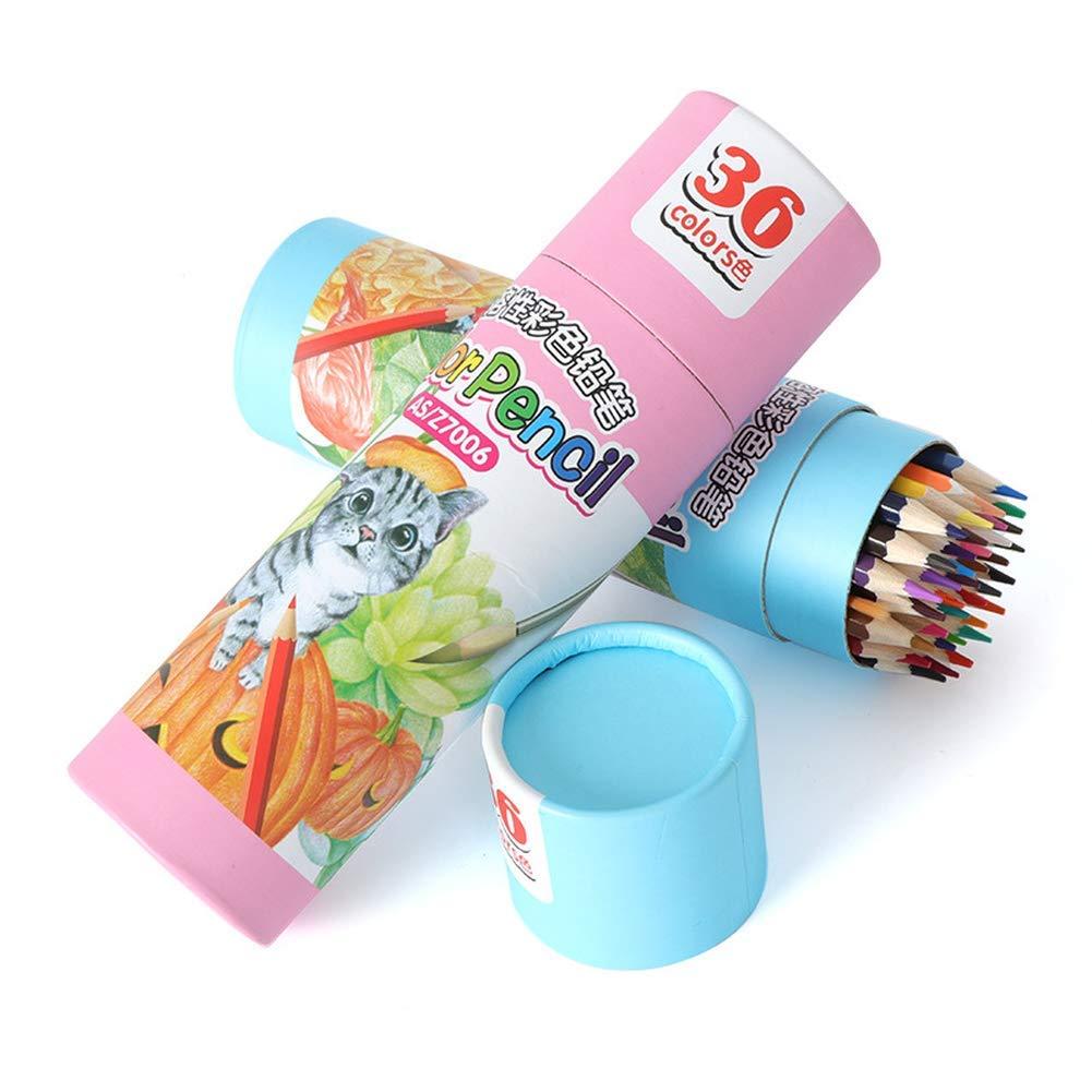 Lápices de colores, lápices de colores solubles cubos en agua, 36/48 cubos solubles de colores, juego de plomo, cepillo para niños, bolígrafo de dibujo de color, núcleo suave, triángulo, color 48 color ccb9ea