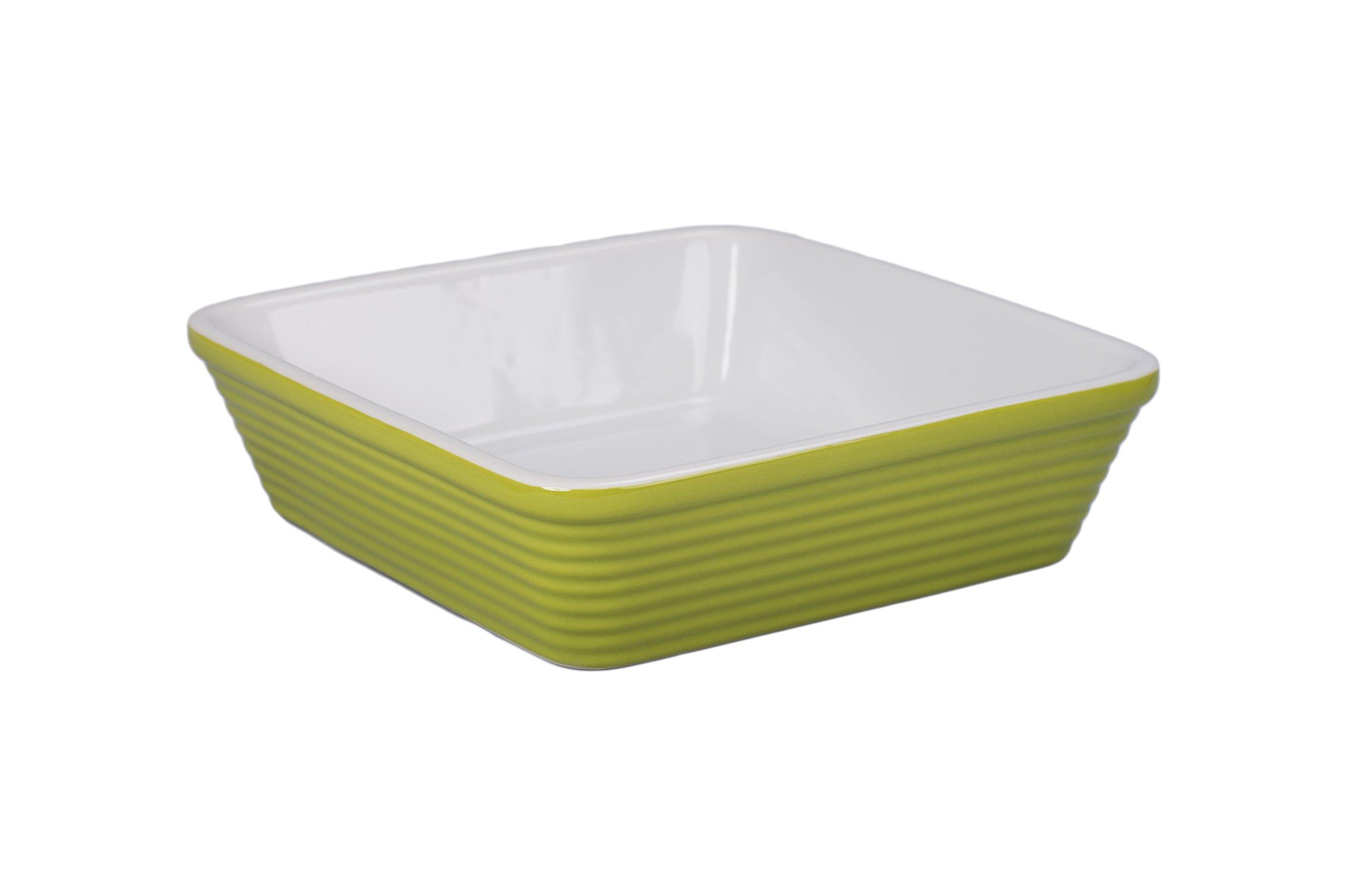 BIA Cordon Bleu 404942+3132S1SIOC Textured Bakeware Square Baker, Grass Green/White