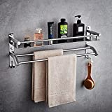 Multifunction 304 Stainless Steel Storage Shelf Towel Bar Bathroom Fittings Towel Rack Hook Up ( Size : 60CM )