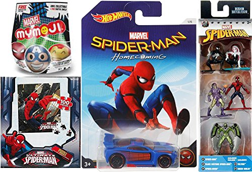 Marvel Nano Spider-Man car blind bag Black Costume, Spider-Gwen, Vulture & Green Goblin 1.5-Inch Diecast Figure + Mymoji mystery pack & Hot Wheels Homecoming Exclusive Power Rage + 100 pc puzzle