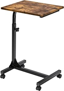 Coavas Over Bed Table C Side Rolling Table with Lockable Wheels, Medical Portable Notebook Laptop Desk 3 Adjustment Levels, TV Tray Table for Eating Breakfast,Vintage Brown Telephone Table
