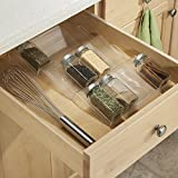 mDesign Expandable Spice Rack Organizer for Kitchen Drawer - Clear