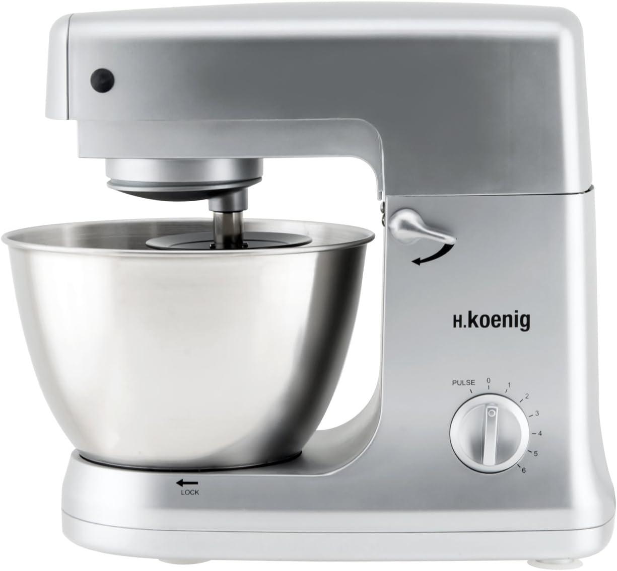 H.Koenig KM 65 KM65-Robot de Cocina multifunción, batidora amasadora, 5 l, 1000 W, Acero Inoxidable
