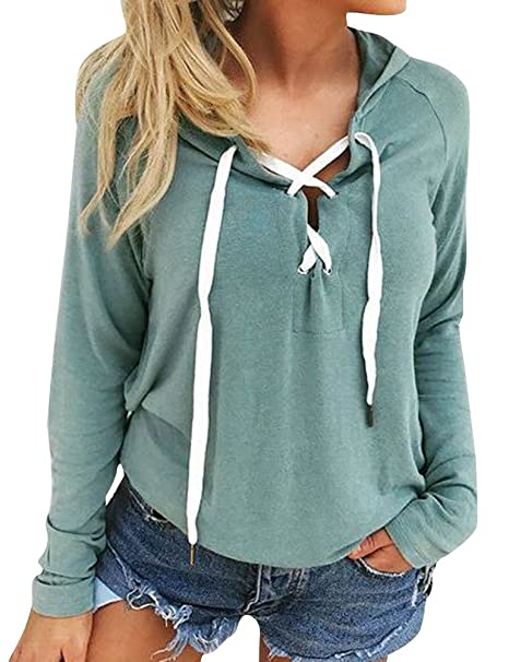 ae9249719c4a8 Amazon.com  ZXH Women Long Sleeve Deep V Neck Lace Up Casual Hoodie Tops  Blouse  Clothing