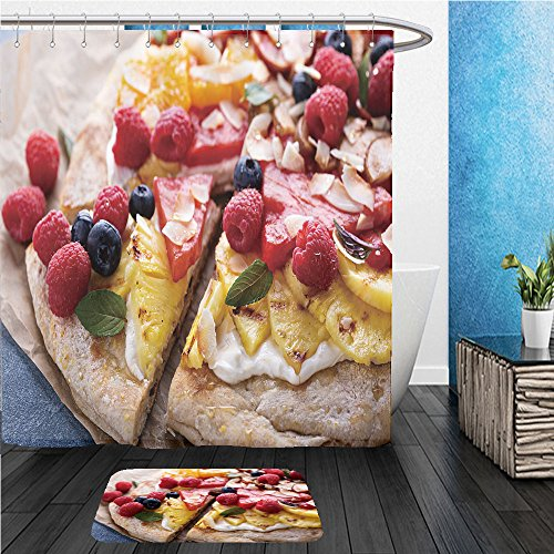 Beshowereb Bath Suit: ShowerCurtian & Doormat grilled fruit pizza with cream cheese honey and coconut best summer dessert 440600842