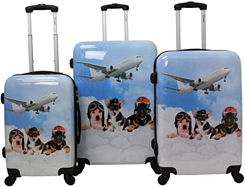 Chariot Doggie 3-piece Expandable Hardside Lightweight Spinner Luggage Set-Pilots, One Size