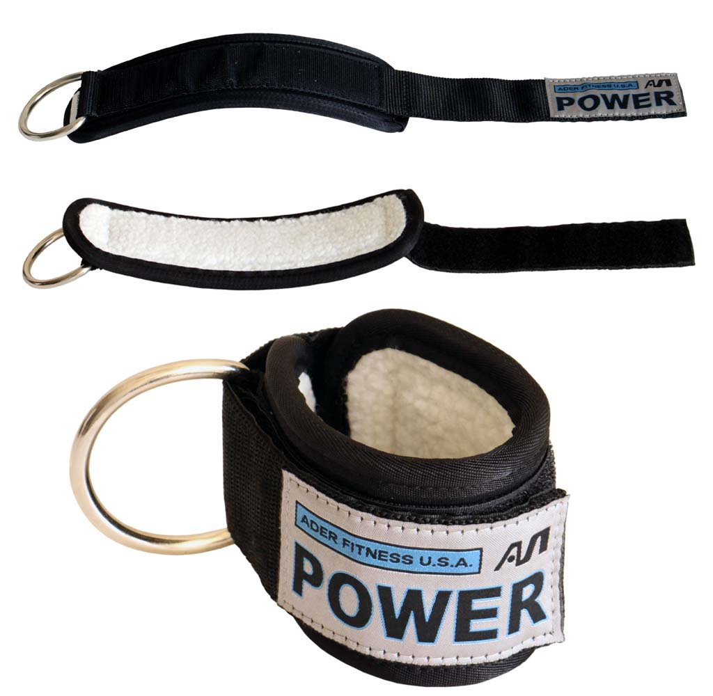 Ader Power Ankle Strap w/ Synthetic Wool & Heavy Duty Snap Links (Sold As a Pair)