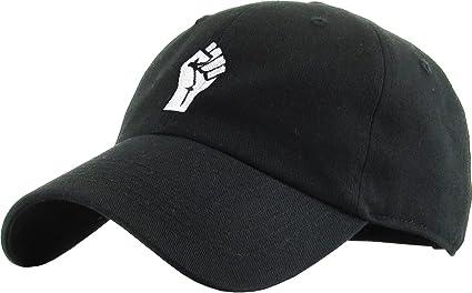 3d3bf95f96 Amazon.com  KBSV-029 BLK Fist Dad Hat Baseball Cap Polo Style ...