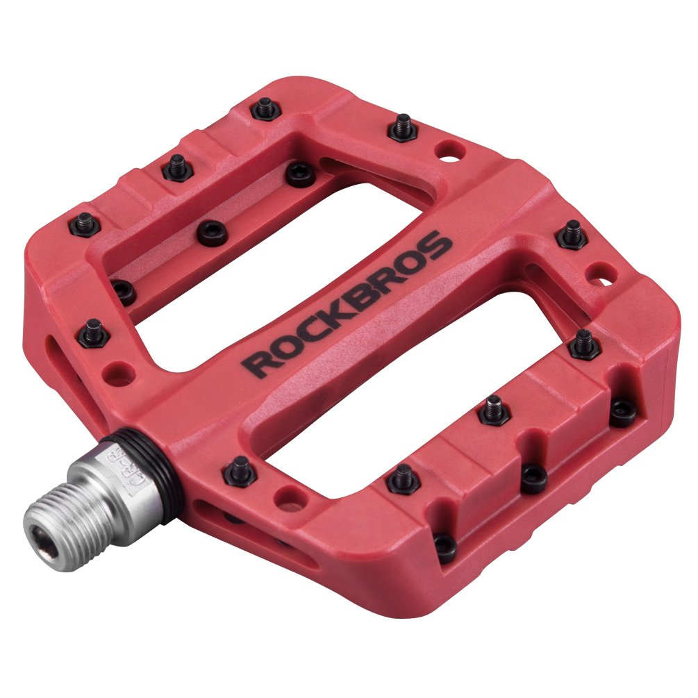 RockBros Lightweight Mountain Bike Pedals Nylon Fiber Bicycle Platform Pedals for BMX MTB 9/16'' Red by ROCK BROS