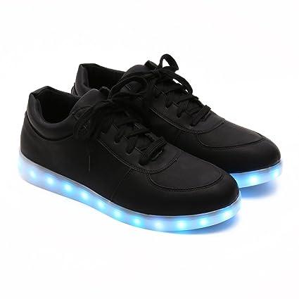 veroman Unisex mujeres hombres 11 colores LED intermitente de carga USB Zapatillas de running zapatillas,