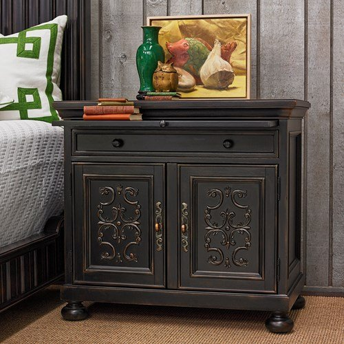 Ambella Home Collections 02197-230-001 Scrolling Gate Night Stand Ambella Home Collection