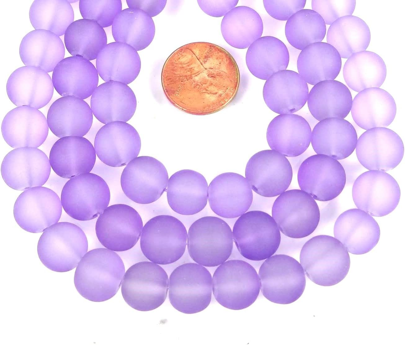Lavender 25 Frosted Sea Glass Round Beads 10mm Matte