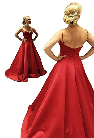 Yangprom Long Spaghetti Straps Low Back Prom Dress Sleeveless Satin Evening Gown at Amazon Womens Clothing store: