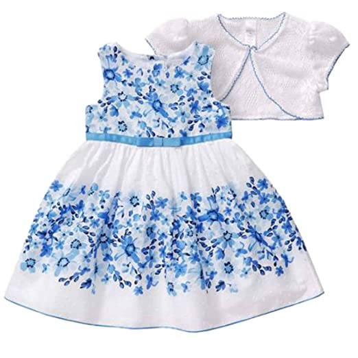 e52ddb88495 Amazon.com  Toddler Girls Blue   White Floral Easter Holiday Dress ...