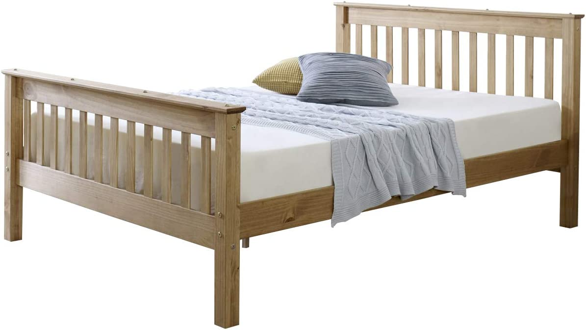 Mission TM Somerset Bed Frame Finished In Waxed Brazilian Pine 90cm x 190cm 3ft Single , Flex 1000 Mattress