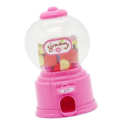 Máquina de Chicles Alcancía Ahorro Caja de Monedas Mini Dulces Retro Color Rosa Niños