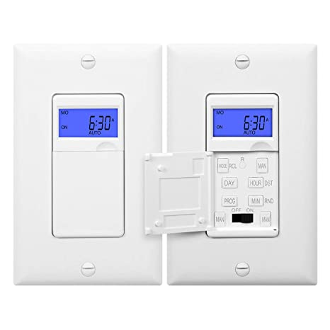 Enerlites HET01 7 Days Digital In-Wall Programmable Timer Switch with Blue  Backlight, White, 2-Pack