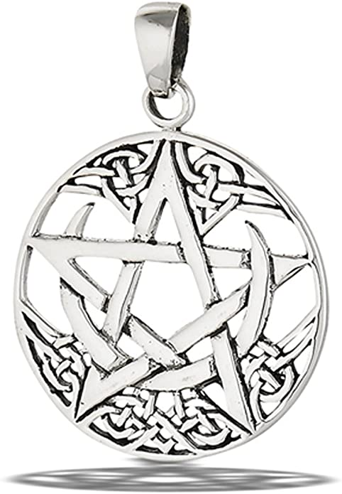 18 inches Mimi Sterling Silver Celtic Wiccan Pentacle Pentagram Round Pendant Necklace
