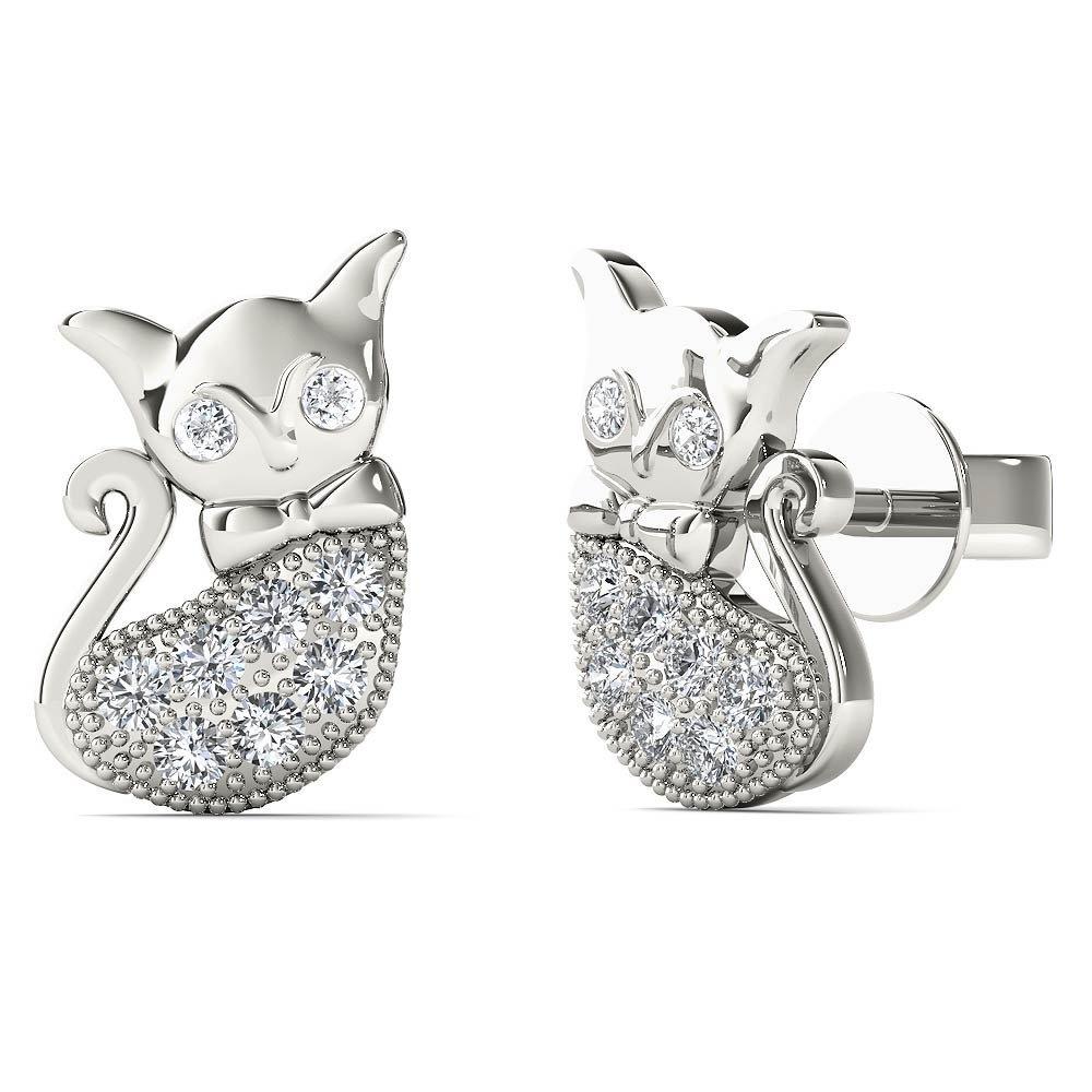 JewelAngel Women's 10K White Gold Diamond Accent Cute Cat Stud Earrings (H-I, I1-I2)