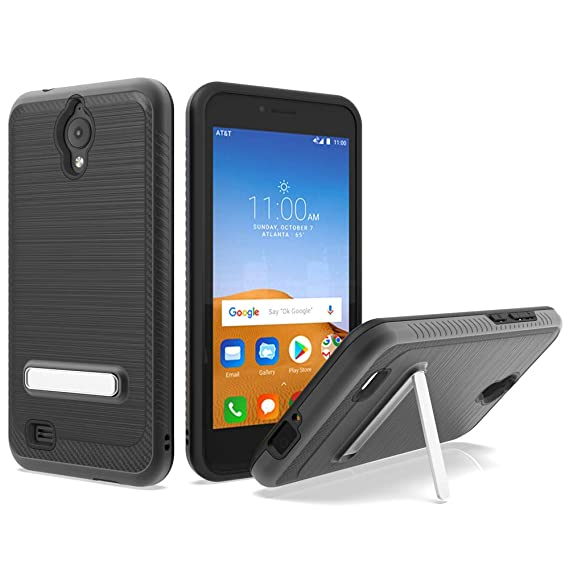 AT&T AXIA Case, ATT QS5509A case, Androgate [Silk Series] Hybrid Matte  Defender Phone Case Cover with Kickstand for AT&T AXIA (Cricket Vision),  Black