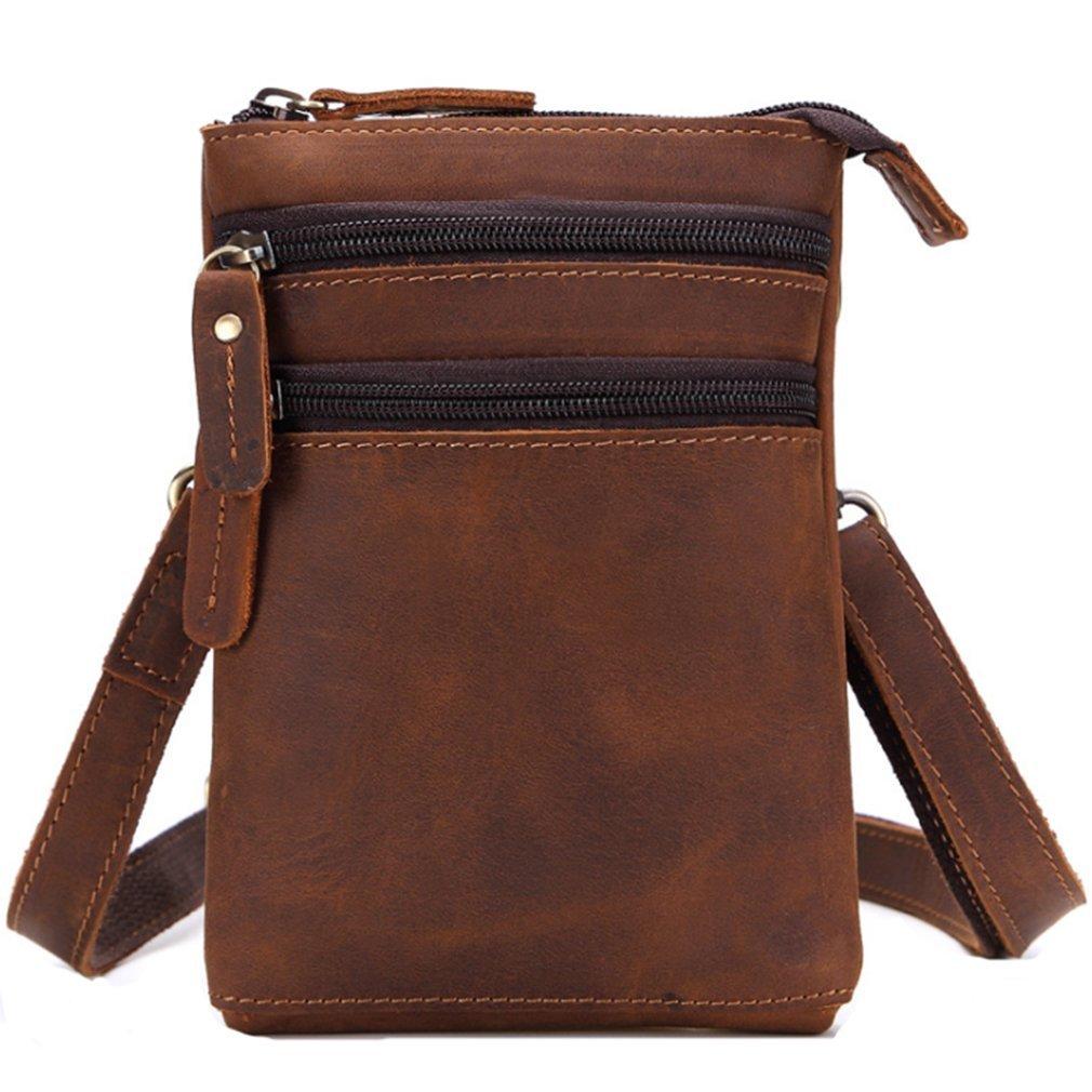 FANGDA Genuine Leather Brown Fanny Small Messenger Shoulder Satchel Waist Bag Pack for Men