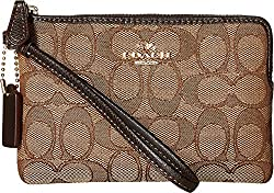 COACH Women's Box Program Signature Jacquard Corner Zip LI/Khaki/Brown Clutch