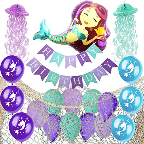 Mermaid Party Supplies - Decorative Fish Net, Fully Assembled Happy Birthday Banner, Jellyfish Honeycomb, Latex Mermaid Balloons and Giant Mermaid Foil Balloon - Mermaid Birthday Party Supplies Decorations -
