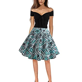 Amazon.com: Swing Dress Women Vintage Retro Off Shoulder ...