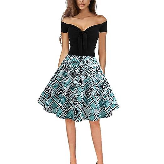 1792129776d93 Lissom Dress for Women Vintage 1950s Retro Off Shoulder Printing Cocktail  Party Prom Swing Dress