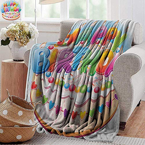 (XavieraDoherty Summer Blanket,Kids Birthday,Cartoon Style Happy Birthday Party Image Cake Candles Hearts Design Print, Multicolor,Lightweight Breathable Flannel Fabric,Machine Washable 50