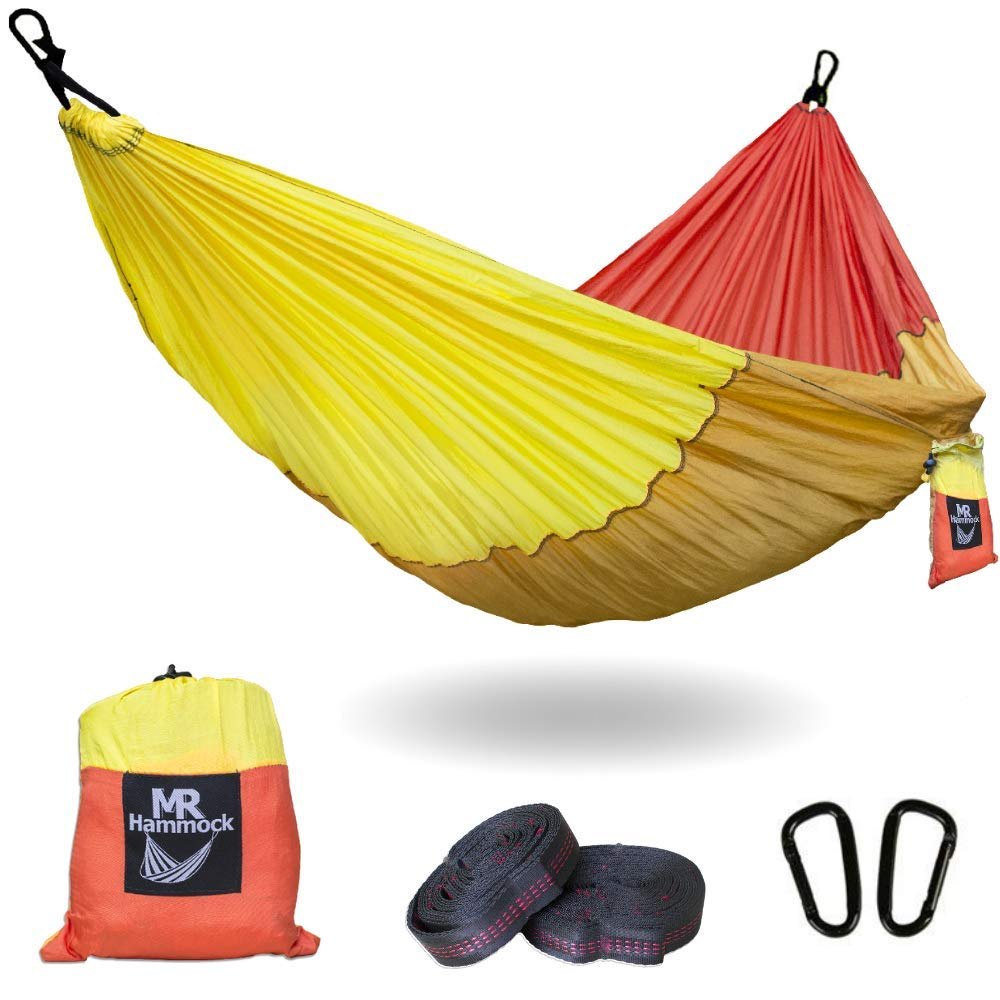 Traveler Fantasy Double Camping Hammock Durable Nylon Parachute Portable Ultraweight Hammock, Backpacking, Beach, Yard, Swing, Super Strong Straps Carabiner