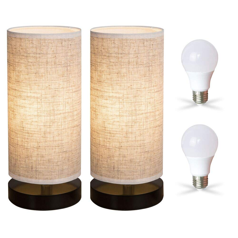 ZEEFO Bedside Table Lamp, Modern Simple Design Desk Lamp with Cylinder Fabric Shade and Black Base, Included 2 Led Bulbs, Perfect for Home, Bedroom, Living Room, Office, Sturdy (Set of Two)
