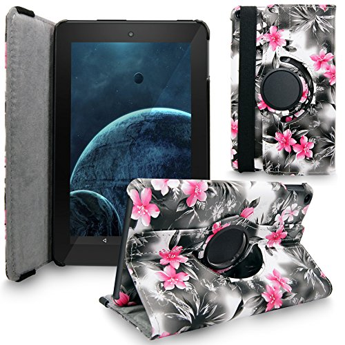 Fire HD 10 2015 Case, Cellularvilla Premium PU Leather 360 Degree Rotating Cover Swivel Stand Protective Case for Amazon Kindle Fire HD 10 inch Tablet 5th Generation 2015 release (Black Pink Flower) (Tablet Kindle 10 Inch)
