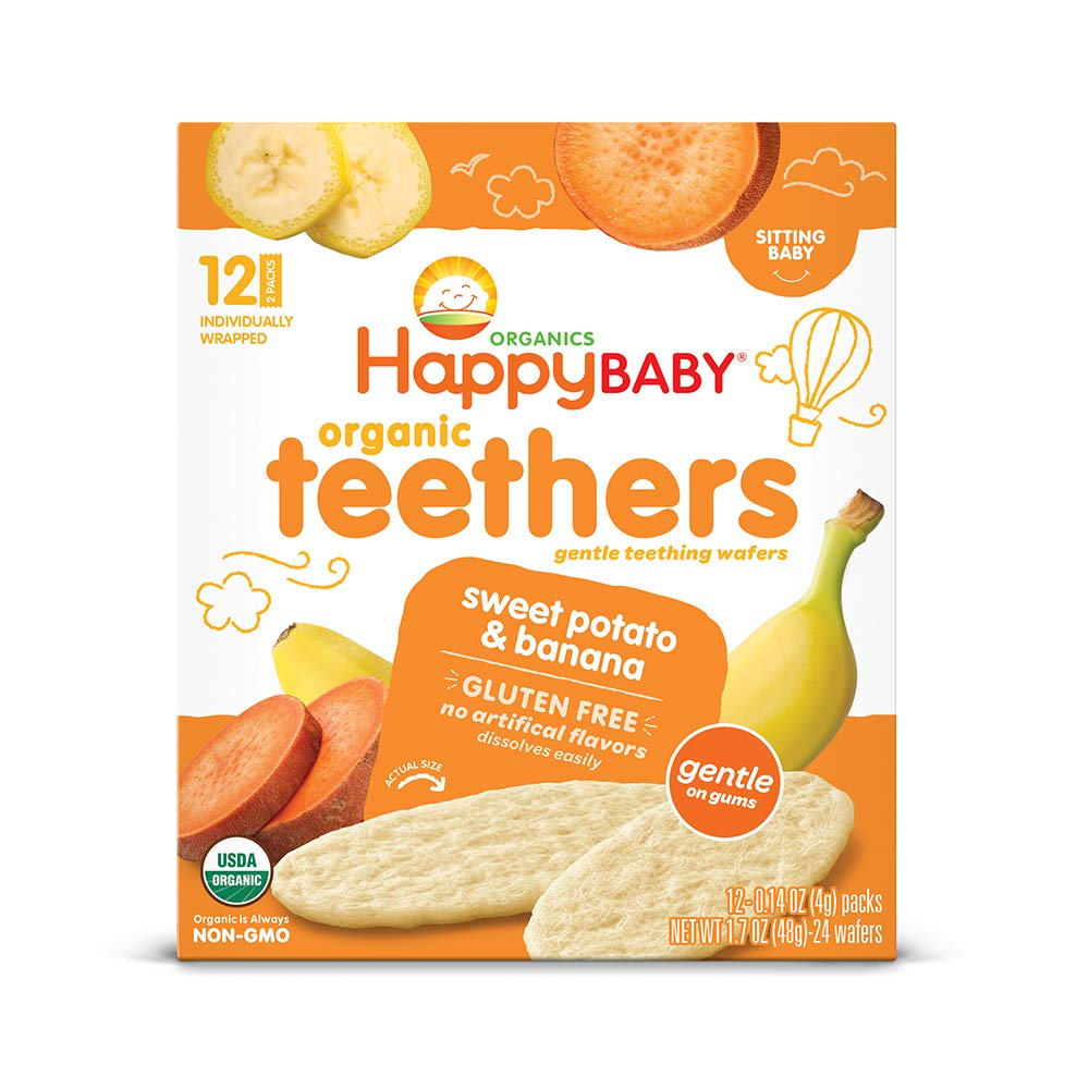 Happy Baby Gentle Teethers Organic Teething Wafers Banana Sweet Potato, Gluten-Free, 12 Count per box, 1.7 Oz, Pack of 6 (Packaging May Vary)