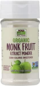 NOW Foods, Certified Organic Monk Fruit Extract Powder, Zero Calorie Sweetener, Large Bottle for Serving Scoop, Certified Non-GMO, 0.7-Ounce