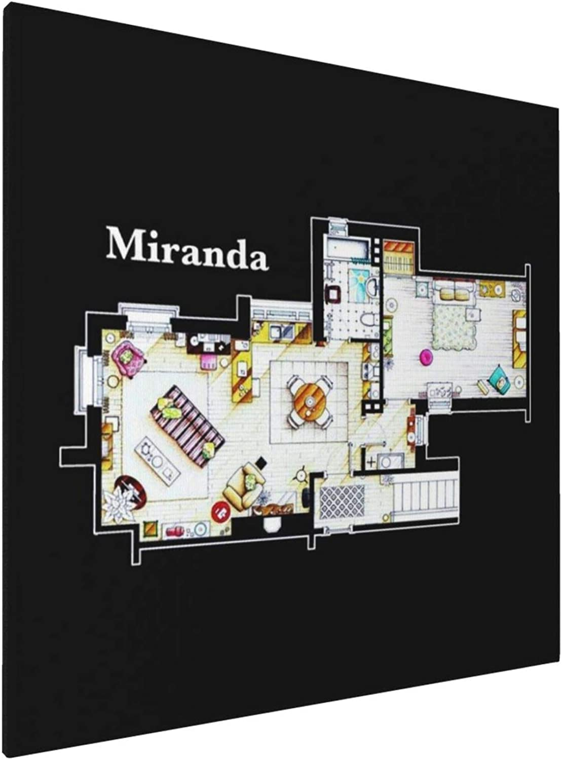 1007 Canvas Prints Wall Art Paintings(20x20in) Mirandas Apartment Floor Plan Pictures Home Office Decor Framed Posters & Prints