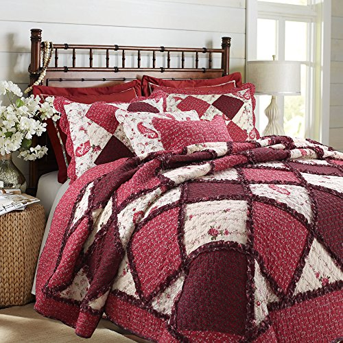 (Cozy Line Home Fashions Darlene Love Romantic Burgundy Red Floral Rose Flower Lace Real Patchwork 100% Cotton Bedding Quilt Set, Coverlet Bedspread (Red Lace, King - 3)