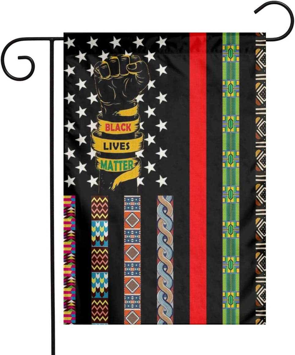 African American Usa Afro Pan Black And Green Red Fist Ribbon Black Lives Matter Blm Flax Nylon Burlap Linen Fabric Garden Flag Farmhouse Mailbox Decor Welcome Sign 12x18 Inch Small Double Sided