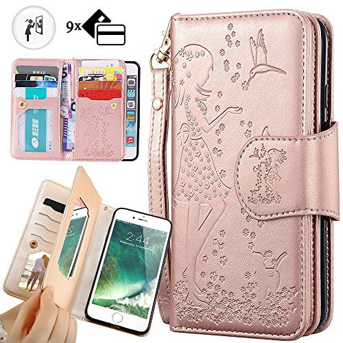 iphone 6S Plus Wallet Case,Auker Trifold 9 Card Holder+Makeup Mirror Girly Vintage Book Leather Flip Flop Magnetic Closure Folding Stand Purse Case Cover with Cash Pocket for iphone 6 Plus (Rose Gold) (Flip Holder Card Flop)