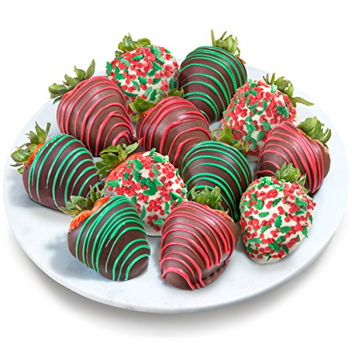 Golden State Fruit 12 Merry Christmas Chocolate Covered Strawberries (Strawberry Dipped In Chocolate Delivery)