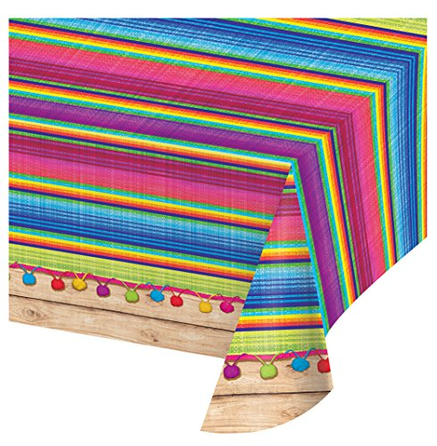 Creative Converting 324357 All Over All Over Print Plastic Tablecover, 54 x 102-Inch, Serape, Table - Table Cover Fiesta