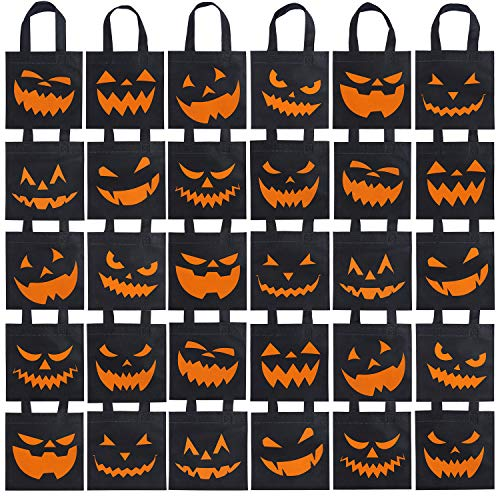 Unique Halloween Gift Bags (Elcoho 30 Packs Halloween Trick or Treat Non-woven Bags Pumpkin Bags Party Goody Tote Bags Gift Bag with Handles Party Favors, 8 by 8 Inches, 10)