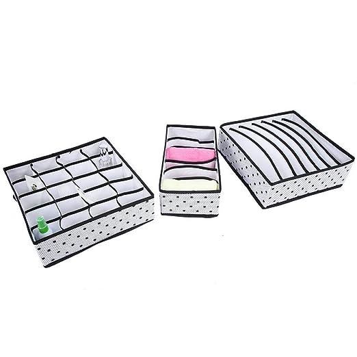 Hotaluyt 3pcs de la Ropa Interior Sujetador Organizador Calcetines Bufandas Ropa Interior Caja de Almacenamiento de Tela no Tejida de contenedores de cajones divisores