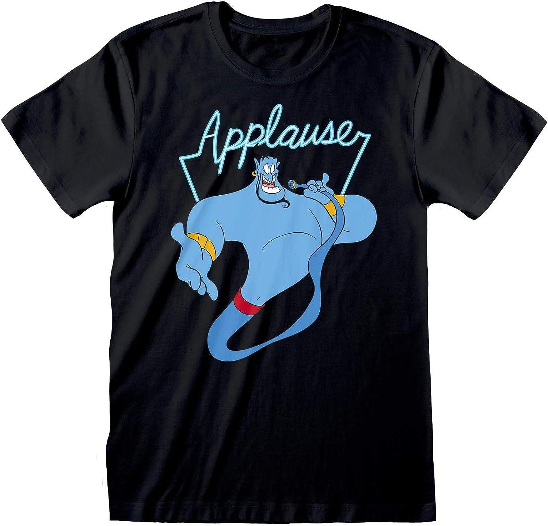Men/'s Aladdin Genie Applause Black T-Shirt Unisex Disney Adult Tee