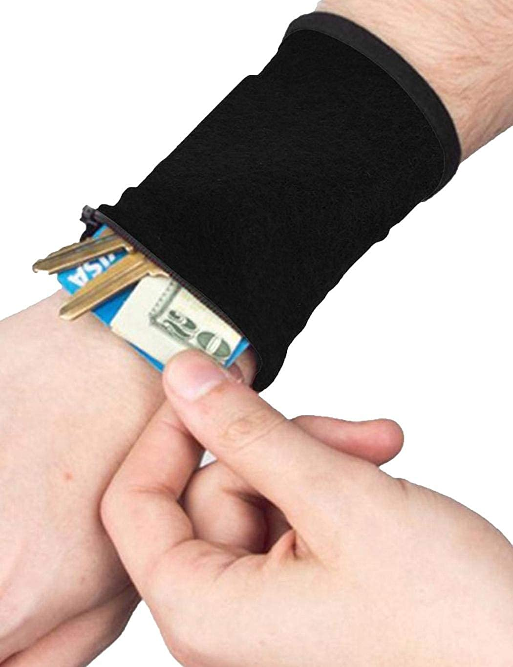 Mandii Sports Thick Solid Stretchy Credit Cards Keys Wrist Wallets with Zipper Coin Purses /& Pouches