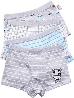 Pulchram Jungen Boxershorts Kinder Unterwäsche aus Baumwolle Junge Unterhose Slips Boxer Schlüpfer für 2-11 Jahre 4farbe)