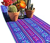Del Mex Woven Rebozo Style Mexican Table Runner Scarf (Purple)