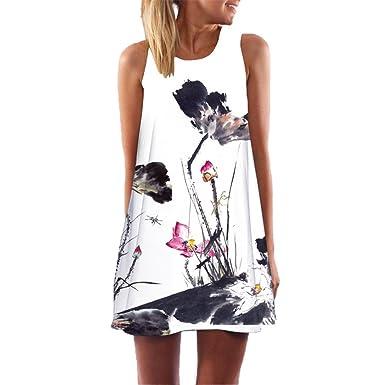 804c3daf533 Women s Sleeveless Boho Floral Print WANQUIY Loose Casual Sleeveless Short Dress  Summer Beach A Line Dress