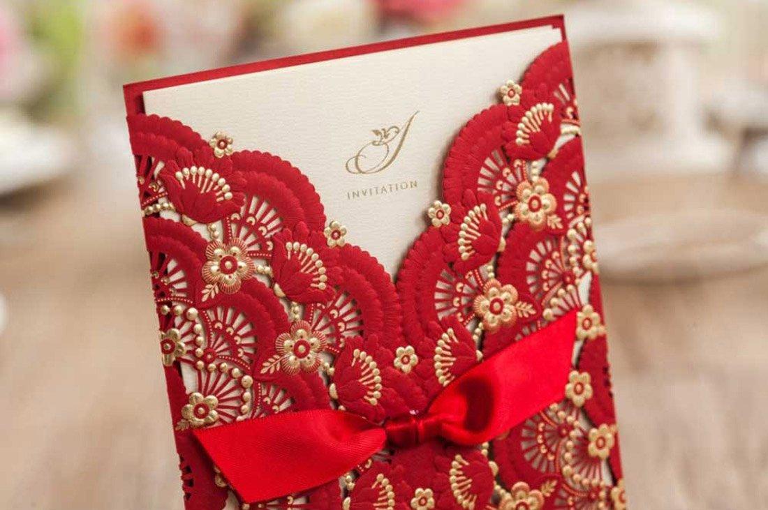 Amazon.com: Wishmade 50 Pieces Red Laser Cut Wedding Invitations ...